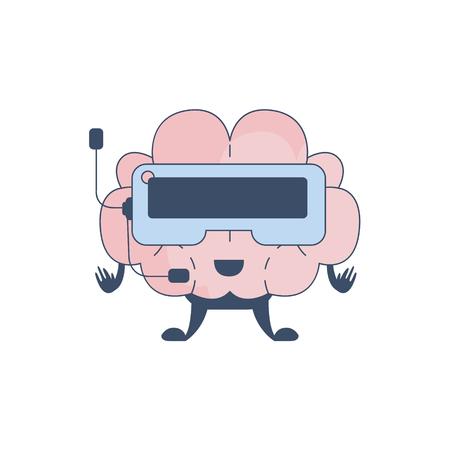 sistema nervioso central: Cerebro Jugar realidad virtual Video Juegos carácter cómico En representación de la inteligencia y las actividades intelectuales de la ilustración de dibujos animados humano mente plana del vector. Sistema Nervioso Central de la historieta de Órganos Humanos Emoji Diseño.