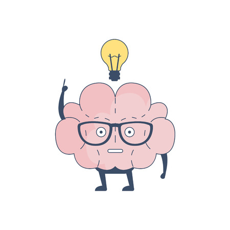 sistema nervioso central: Brain Has And Idea Comic Character Representing Intellect And Intellectual Activities Of Human Mind Cartoon Flat Vector Illustration. Cartoon Human Central Nervous System Organ Emoji Design. Vectores