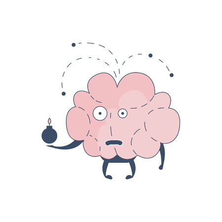 sistema nervioso central: Brain Exploding Comic Character Representing Intellect And Intellectual Activities Of Human Mind Cartoon Flat Vector Illustration. Cartoon Human Central Nervous System Organ Emoji Design.