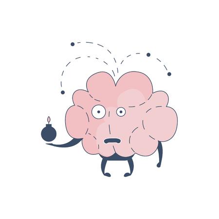 Brain Exploding Comic Character Representing Intellect And Intellectual Activities Of Human Mind Cartoon Flat Vector Illustration. Cartoon Human Central Nervous System Organ Emoji Design.