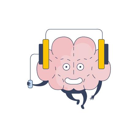 sistema nervioso central: Cerebro Escuchando Música En representación de carácter cómico intelecto y las actividades intelectuales de la ilustración de dibujos animados humano mente plana del vector. Sistema Nervioso Central de la historieta de Órganos Humanos Emoji Diseño. Vectores