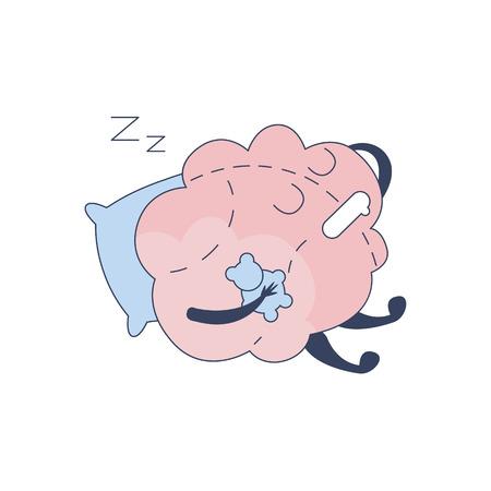 sistema nervioso central: Cerebro que duerme con el oso de peluche carácter cómico En representación de la inteligencia y las actividades intelectuales de la ilustración de dibujos animados humano mente plana del vector. Sistema Nervioso Central de la historieta de Órganos Humanos Emoji Diseño. Vectores