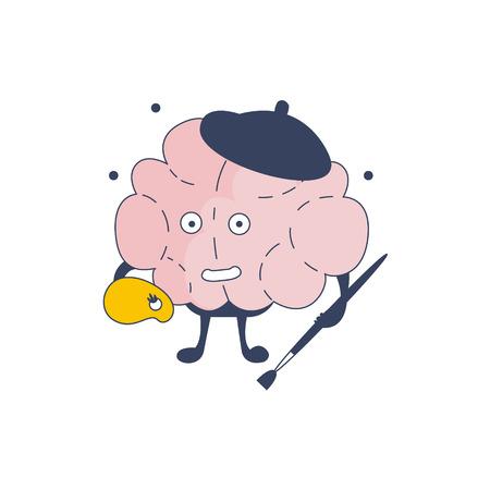 representing: Brain Artist Comic Character Representing Intellect And Intellectual Activities Of Human Mind Cartoon Flat Vector Illustration. Cartoon Human Central Nervous System Organ Emoji Design. Illustration