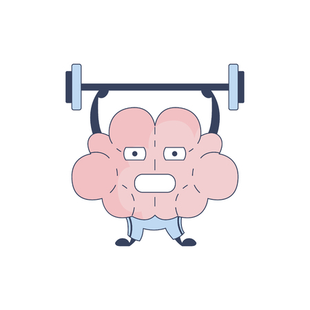 Brain In Gym Doing Weight Lifting Comic Character Representing Intellect And Intellectual Activities Of Human Mind Cartoon Flat Vector Illustration. Cartoon Human Central Nervous System Organ Emoji Design. Illustration
