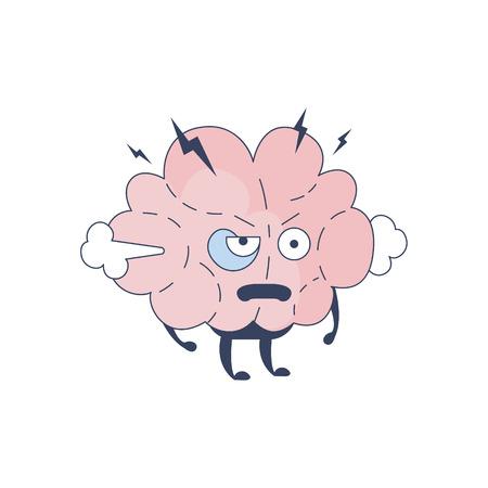 sistema nervioso central: Cerebro cabreaste carácter cómico En representación de la inteligencia y las actividades intelectuales de la ilustración de dibujos animados humano mente plana del vector. Sistema Nervioso Central de la historieta de Órganos Humanos Emoji Diseño.
