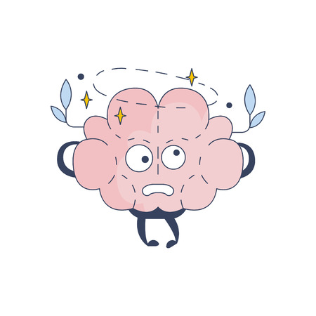 disorientated: Brain Feeling Dizzy Comic Character Representing Intellect And Intellectual Activities Of Human Mind Cartoon Flat Vector Illustration. Cartoon Human Central Nervous System Organ Emoji Design.
