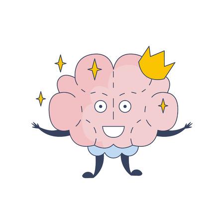 sistema nervioso central: Princesa de cerebro en Corona carácter cómico En representación de la inteligencia y las actividades intelectuales de la ilustración de dibujos animados humano mente plana del vector. Sistema Nervioso Central de la historieta de Órganos Humanos Emoji Diseño.