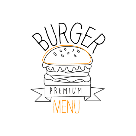 sesame seeds: Burger With Sesame Seeds Bun Premium Quality Fast Food Street Cafe Menu Promotion Sign In Simple Hand Drawn Design Vector Illustration. Good Products Trendy Junk Food Advertisement Template For Hipster Restaurant.