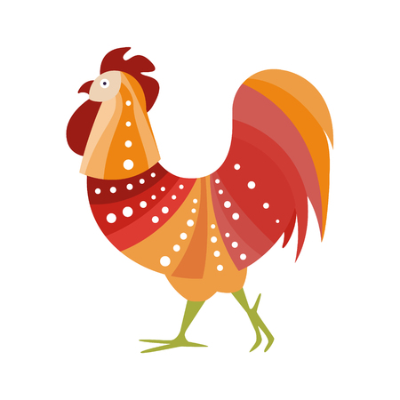 artictic: Rooster Farm Bird Colored In Artictic Modern Style Filled With Warm Colors Stripy Pattern And White Dots Colorful Illustration. Decorative Creative Design Of Chicken Shaped Isolated Drawing In Doodle Style.