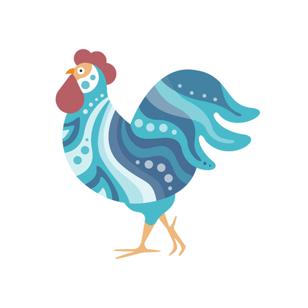 Rooster Farm Bird Colored In Artictic Modern Style Filled With Blue Shade Wavy Stripes Pattern And Dots Colorful Illustration. Decorative Creative Design Of Chicken Shaped Isolated Drawing In Doodle Style.