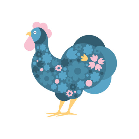 Rooster Farm Bird Colored In Artictic Modern Style Filled With Blue And Pink FloralPattern Colorful Illustration. Decorative Creative Design Of Chicken Shaped Isolated Drawing In Doodle Style. Illustration