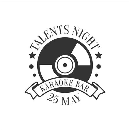 Talents Night Karaoke Premium Quality Bar Club Monochrome Promotion Retro Sign Design Template. Illustration
