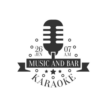 established: Old-Fashioned Microphone Karaoke Premium Quality Bar Club Monochrome Promotion Retro Sign Design Template.