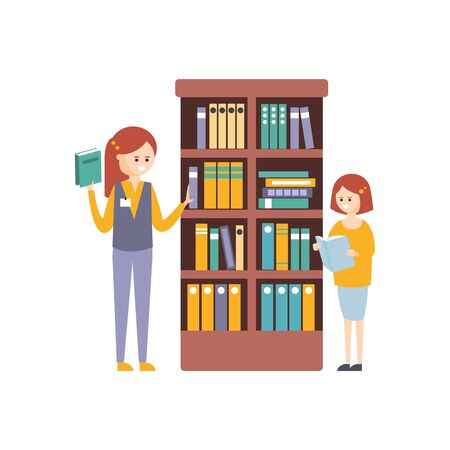 interiors: Library Or Bookstore With With Two Girls Choosing Books On Bookshelf. Flat Primitive Illustration With Colorful Human Characters In Bookshop Interiors. Illustration