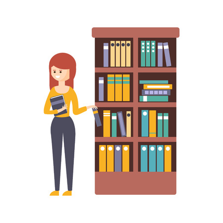 choosing: Library Or Bookstore With Young Woman Choosing A Book To Read. Flat Primitive Illustration With Colorful Human Characters In Bookshop Interiors.