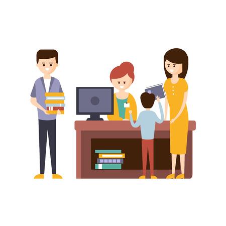 Biblioteca o librería con la gente Uso de la Ayuda de Bibliotecario elegir los libros. Ilustración primitivo plana con coloridos personajes humanos en la librería interiores.