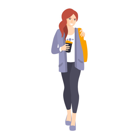leggings: Girl In Leggings And Jacket With Coffee Paper Cup Part Of The Collection Of Young Professional People Office Style And Street Fashion Looks