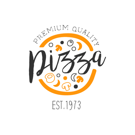 Full Pizza With Orange And Black Ingredients Premium Quality Italian Pizza Fast Food Street Cafe Menu Promotion Sign In Simple Hand Drawn Design Illustration.