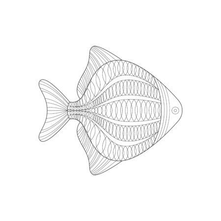 Aquarium Fish Sea Underwater Nature Adult Black And White Coloring Book Illustration.