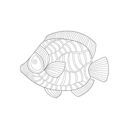 Angel Fish Sea Underwater Nature Adult Black And White Coloring Book Illustration