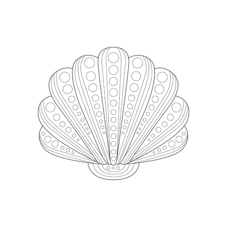 clam illustration: Clam Shell Sea Underwater Nature Adult Black And White Coloring Book Illustration