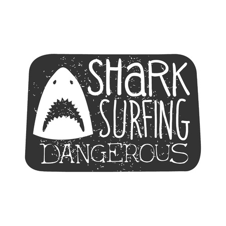 established: Shark Head With Open Mouth Summer Surf Club Black And White Stamp With Dangerous Animal Silhouette Template