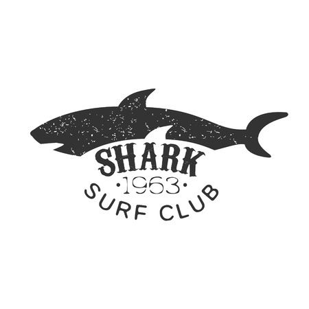 blackwhite: Grey Shark Summer Surf Club Black And White Stamp With Dangerous Animal Silhouette Template.