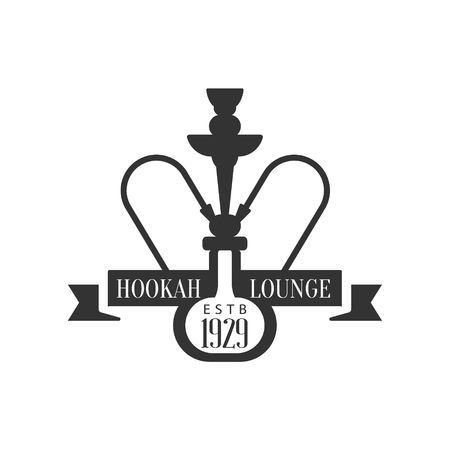 waterpipe: Hookah And Ribbon Premium Quality Smoking Club Monochrome Stamp For A Place To Smoke Design Template.