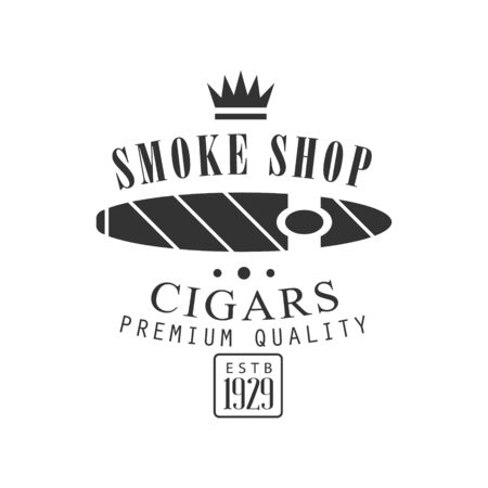 cuban cigar: Cigar Smoke Shop Premium Quality Smoking Club Monochrome Stamp For A Place To Smoke Design Template. Illustration