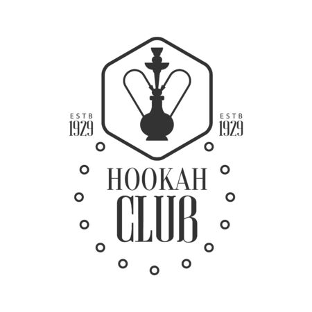 established: Hookah In Hexagon Frame Premium Quality Smoking Club Monochrome Stamp For A Place To Smoke Design Template. Illustration