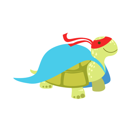 Land Turtle Animal Dressed As Superhero With A Cape Comic Masked Vigilante Character. Part Of Fauna With Super Powers Flat Cartoon Collection Of Illustrations. 版權商用圖片 - 66202332