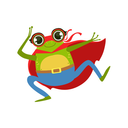 Frog Animal Dressed As Superhero With A Cape Comic Masked Vigilante Character. Part Of Fauna With Super Powers Flat Cartoon Collection Of Illustrations. Illustration