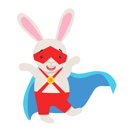 White Bunny Animal Dressed As Superhero With A Cape Comic Masked Vigilante Character. Part Of Fauna With Super Powers Flat Cartoon Collection Of Illustrations.