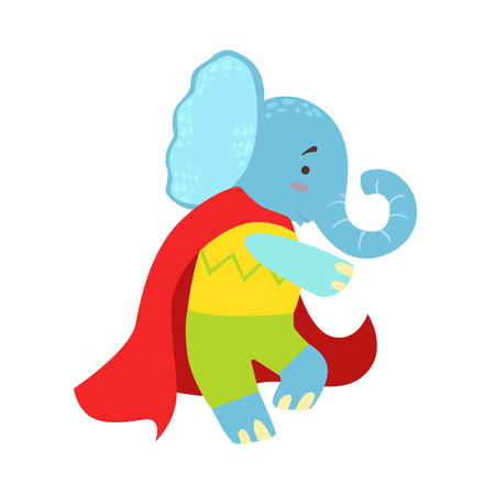 Elephant Animal Dressed As Superhero With A Cape Comic Masked Vigilante Character. Part Of Fauna With Super Powers Flat Cartoon Collection Of Illustrations.