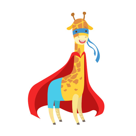 Giraffe Animal Dressed As Superhero With A Cape Comic Masked Vigilante Character. Part Of Fauna With Super Powers Flat Cartoon Vector Collection Of Illustrations.