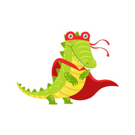 cocodrilo: Cocodrilo Animal vestido como super héroe con un carácter cómico del Cabo vigilante enmascarado. Parte de fauna con Superpoderes plana de dibujos animados vector colección de ilustraciones.