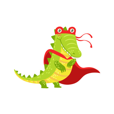 Crocodile Animal Dressed As Superhero With A Cape Comic Masked Vigilante Character. Part Of Fauna With Super Powers Flat Cartoon Vector Collection Of Illustrations.