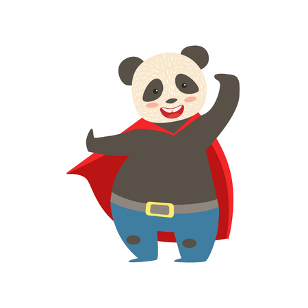 Panda Bear Animal Dressed As Superhero With A Cape Comic Masked Vigilante Character. Part Of Fauna With Super Powers Flat Cartoon Collection Of Illustrations.