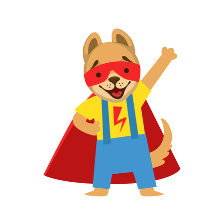 Puppy Animal Dressed As Superhero With A Cape Comic Masked Vigilante Character. Part Of Fauna With Super Powers Flat Cartoon Collection Of Illustrations. Illustration