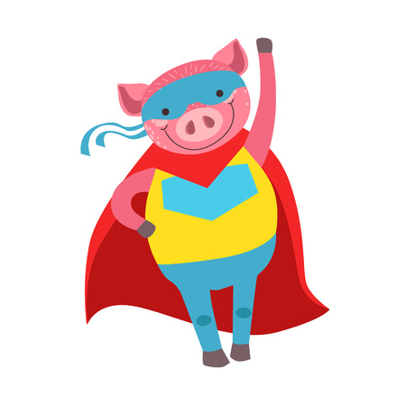 Pig Animal Dressed As Superhero With A Cape Comic Masked Vigilante Character. Part Of Fauna With Super Powers Flat Cartoon Collection Of Illustrations.