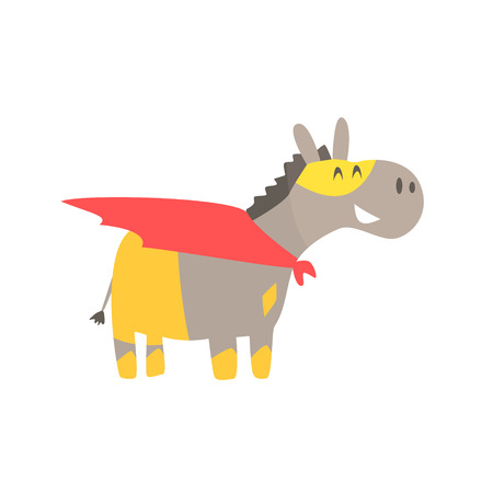 Donkey Smiling Animal Dressed As Superhero With A Cape Comic Masked Vigilante Geometric Character. Part Of Fauna With Super Powers Flat Cartoon Collection Of Illustrations.