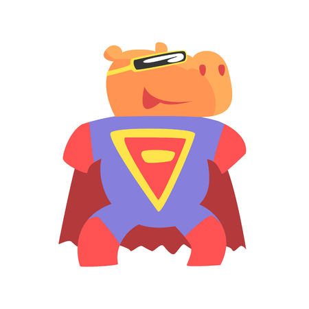 Hippo Smiling Animal Dressed As Superhero With A Cape Comic Masked Vigilante Geometric Character. Part Of Fauna With Super Powers Flat Cartoon Collection Of Illustrations.