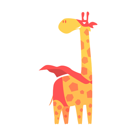 Giraffe Animal Dressed As Superhero With A Cape Comic Masked Vigilante Geometric Character. Part Of Fauna With Super Powers Flat Cartoon Collection Of Illustrations. Illustration