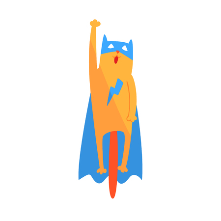 Cat Flying Animal Dressed As Superhero With A Cape Comic Masked Vigilante Geometric Character. Part Of Fauna With Super Powers Flat Cartoon Collection Of Illustrations.