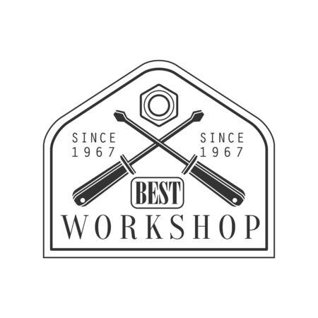 established: Crossed Screwdrivers Premium Quality Wood Workshop Monochrome Retro Stamp Design Template.