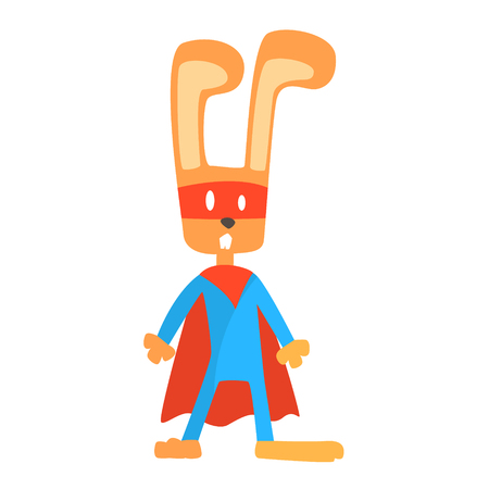 Rabbit Smiling Animal Dressed As Superhero With A Cape Comic Masked Vigilante Geometric Character. Part Of Fauna With Super Powers Flat Cartoon Collection Of Illustrations.