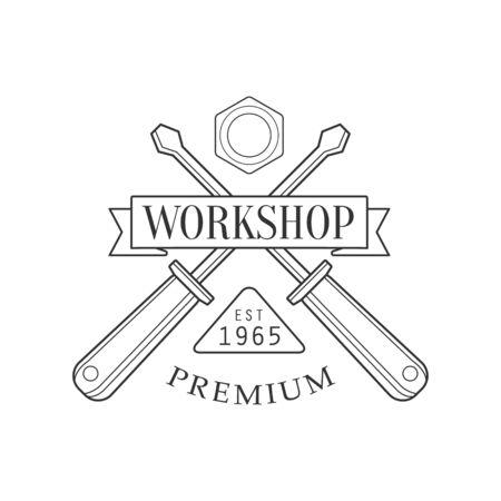 Crossed Screwdrivers And Ribbon Premium Quality Wood Workshop Monochrome Retro Stamp Design Template.