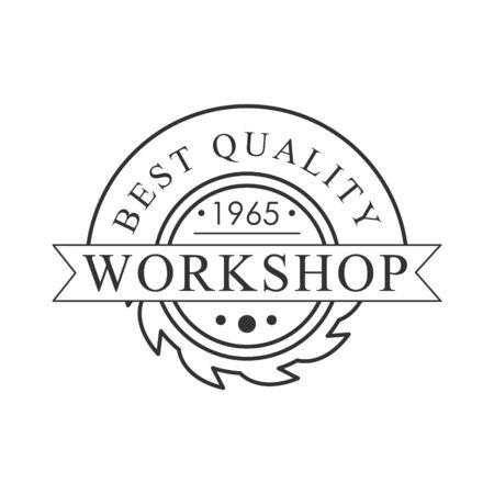 Buzz Saw Premium Quality Wood Workshop Monochrome Retro Stamp Design Template. Illustration