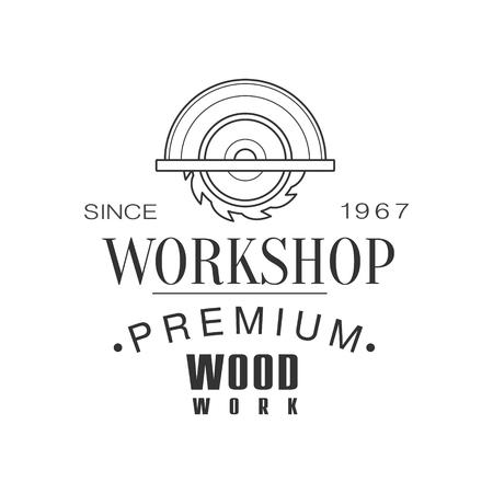 Circ Saw Premium Quality Wood Workshop Monochrome Retro Stamp Design Template. Illustration
