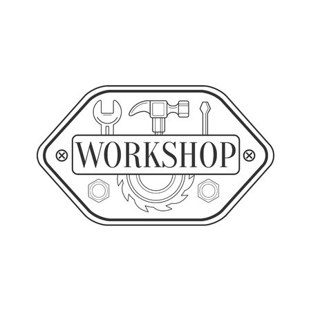 Hammer, Screwdriver And Wrench Premium Quality Wood Workshop Monochrome Retro Stamp Vector Design Template. Black And White Illustration With Instruments And Working Equipment Objects Silhouettes With Text.